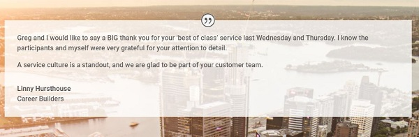Serviced Office International Sydney client testimonial regarding wonderful service received